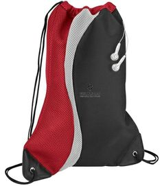 """Color Splash Sport Pack - 2-Tone contour shaped microfiber and mesh day pack with silver accent. Open air mesh fabric back. Sturdy reinforced bottom corners with strong grommet and cord drawstring construction. Rubber ear bud port. Velcro inside pocket, Size: 18""""H x 14-1/2""""W"""