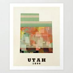 Utah state map modern Art Print by bri.buckley - $20.00