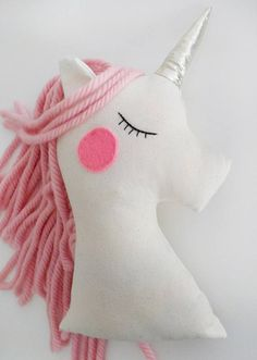 Stuffed Unicorn doll cushion baby girl white pink nursery