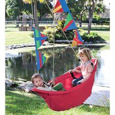 Regatta Swing / 2 Seat Boat Swing For Kids Outdoor Play, Red - Magic Cabin Kids Boat, Kids Swing, Swings For Kids, Kids Outdoor Play, Outdoor Fun, Outdoor Swings, Backyard Swings, Backyard Toys For Kids, Playhouse Outdoor