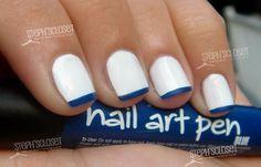 blanco con francés en azul