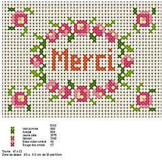 Merci cross stitch pattern.  Cute border.