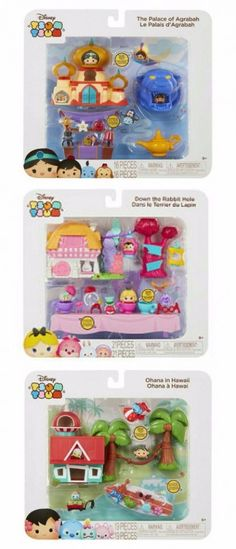 Complete Set of 3 - Disney Tsum Tsum Story Pack Collection Playsets By Jakks Pacific - Aladdin - The Palace of Agrabah - 16 Pieces - Alice in Wonderland - Down the Rabbit Hole - 21 Pieces - & ) Lilo & Stitch - Ohana in Hawaii - 19 Pieces Tsum Tsum Toys, Disney Tsum Tsum, Lilo And Stitch Ohana, Lilo Stitch, Disney Pins, Disney Love, Disney Stuff, Le Terrier, Thanksgiving Preschool