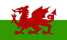 The Official Flag of Wales (Cymru), UK      The flag incorporates the red dragon (Y Ddraig Goch) of Prince Cadwalader along with the Tudor colours of green and white.  crwflags.com