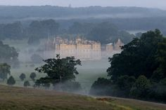 Longleat in the mist.    Warminster, Wiltshire-Beautiful park land and a safari park.