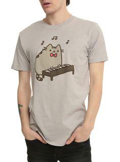 Light+grey+T-shirt+with+Pusheen+playing+the+keyboard.