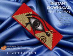 Peyote Pattern Bracelet Cuff Beading Miyuki Delica Size 11 Beads - PDF Download - Egyptian Eye Of Egypt