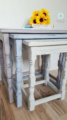 Vintage upcycled nested tables painted nest of by CaramelCoats Coffee Table Inspiration, Furniture Makeover, Homeware Furniture, Furniture Rehab, Diy Furniture Plans, Painted Furniture, Vintage Furniture, Rustic Farmhouse Decor, Painted Nesting Tables