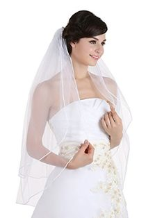 2T 2 Tier Sattin Rattail Cord Edge Bridal Wedding Veil  Ivory Color Fingertip Length 36 ** Details can be found by clicking on the image.-It is an affiliate link to Amazon. #BridalVeils