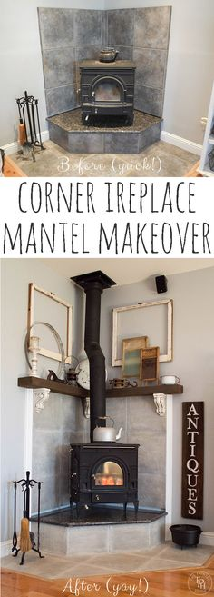 Corner fireplace mantel makeover! This was done WITHOUT ripping out the original tile!