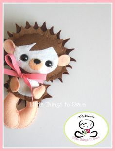 ERIN THE HEDGEHOG (PDF)  This cute little friend is ERIN the HEDGEHOG, perfect to be part of a cute baby mobile or as a present for anyone!! As always quick, easy and fun to make. This PDF document will give you instructions and patterns to hand-sew a lovely 6.5 inches HEDGEHOG. Meet her other woodland friends and get the complete collection!!  **You will receive an electronic file with pattern and instructions. No physical items will be sent**  This PDF includes:  • List of materials…