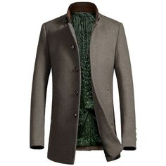 Metal Button Embellished Stand Collar Woolen Coat ($88) ❤ liked on Polyvore featuring men's fashion, men's clothing, men's outerwear, men's coats, mens wool outerwear and mens wool coat