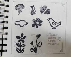 Estos sellos se realizaron con gomas de borrar. Es una bonita opción para aquellas gomas que no borran bien por el motivo que sea. Antes eliminaban dibujos y ahora los crean.