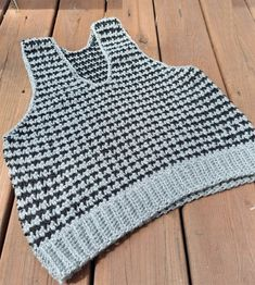 Crocheted-hounds-tooth-vest Hounds Tooth, Crochet Clothes, Teeth, Clothes For Women, Outerwear Women, Tooth