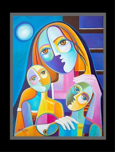 Original Cubist Abstract oil Painting MOTHER by MarlinaVera