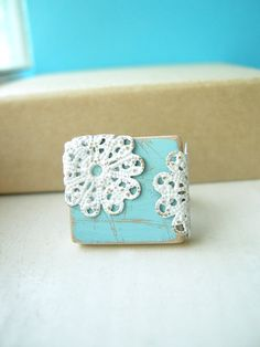 Powder Blue and White Filigree Adjustable Shabby Chic Ring - Blue Lace, $26.00 CA