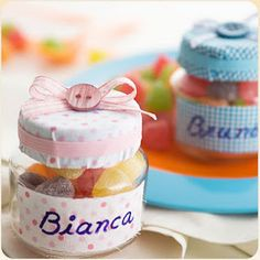decorate and fill with candy...babyfood jar party favors...very sweet!
