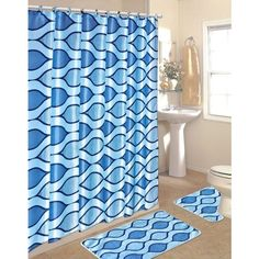 15 Piece Shower Curtain Set Color: Blue ($25) ❤ liked on Polyvore featuring home, bed & bath and bath