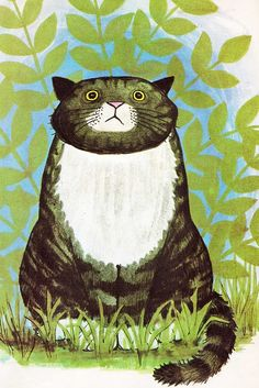 Mog the forgetful cat, Judith Kerr ~ 1970  (For some reason, I simply love his face.  Maybe, it's because I relate.)