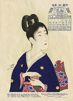 Calendar print for 1910, by Hashimoto Chikanobu (1838–1912), originally published in 1897 as part of the series entitled True Beauties (Shin bijin).