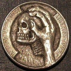 BEN WELLS HOBO NICKEL - SKULL HAND - 1992 JEFFERSON NICKEL Hobo Nickel, Skull Hand, Wells, Art Forms, Sculpture Art, Coins, Carving, Rooms, Wood Carvings