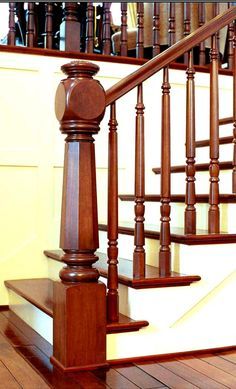 Magnificent Wooden Staircase Spindles For Staircase Design And Decoration Ideas : Fantastic Image Of Interior Stair Decoration Using Solid Cherry Wood Handrail Including White Staircase Wall Paint And Solid Cherry Wood Wooden Staircase Spindles