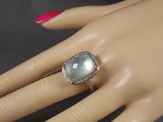 Green Amethyst and MOP Diamond Ring 18.50Ctw White Gold 14K 8.1gm Size 8 by estatejewelryshop on Etsy https://www.etsy.com/listing/213736995/green-amethyst-and-mop-diamond-ring