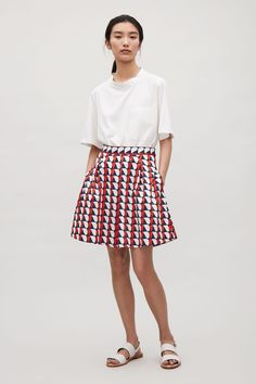 COS image 1 of Flared cotton skirt in Red