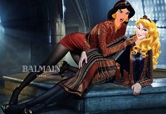 Princess Jasmine and Sleeping Beauty's Aurora in Balmain's campaign