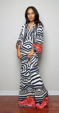 Boho Maxi Dress With Floral Print Long Wide Sleeve by Nuichan