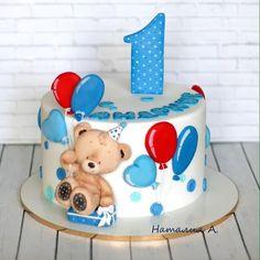 One Year Birthday Cake, Toddler Birthday Cakes, Baby Boy Birthday Cake, Baby Cakes, Girl Cakes, Baby Shower Cakes, Bolo Fondant, Fondant Cakes, Buttercream Birthday Cake