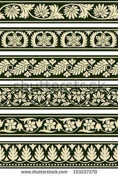 Buy Indian Floral Borders by pvg on GraphicRiver. A series of floral borders based on East Indian patterns. Border Pattern, Border Design, Pattern Art, Pattern Design, Carving Designs, Stencil Designs, Damask Decor, Border Embroidery Designs, Decorative Borders