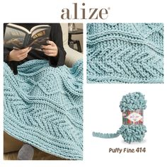 Alize Puffy Fine Blanket Finger Knitting Projects, Yarn Projects, Plush Blankets, Knitted Blankets, Arm Knitting, Knit Or Crochet, Embroidery, Sewing, Crafts
