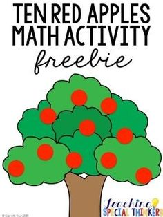 "Check out this fun freebie created to use with the book ""Ten Red Apples"" by Pat Hutchins. #teacherfreebie #classroomactivities"