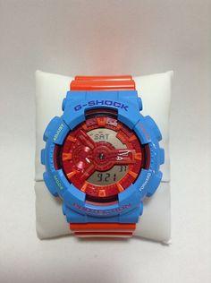 Customized Original G-Shock GA110  [ RANTANA ]  Base Watch : Red [GA-110AC-4AJF ] Vesel Portion : Hyper Blue [GA-110B-2JF] Top Band : Hyper Orange [GA-110A-4JF] Bottom Band : Hyper Orange [GA-110A-4JF]