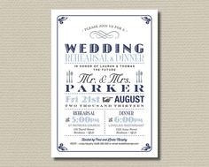 Printable Wedding Rehearsal and Dinner Invitation - Vintage Poster design in Navy, Blue and Grey (RD35) on Etsy, $18.00