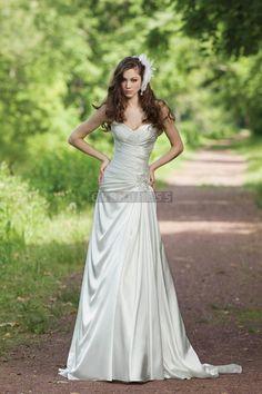 Satin Sexy Beading A-line Sweep Train Wedding Dress
