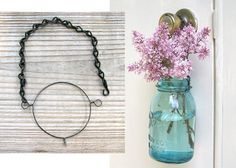 DIY Mason Jar Hanging Kit for 3 Mason Jar Lights or Vases-- 3 sets of wire and chain to hang three mason jars, DIY wedding decor