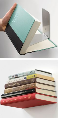 Floating bookshelf // gives your books the appearance of floating in mid-air! Clever! #product_design #furniture_design