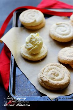 These Salty Eggnog Ice Cream Sandwiches made with Almond Macarons are sure to sway even the toughest nog suspect...trust us!