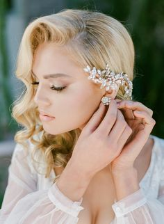 asymmetrical floral bridal headpiece Ashley Rae Photography