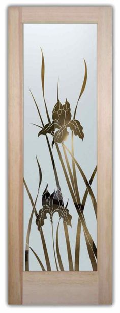 Iris Etched Glass Front Doors English Country Style Huge price range - custom etched glass doors in any decor! Asian or Contemporary to Mediterranean! Colorful Interiors, Contemporary Glass Art, Glass Front Door, Etched Glass Door, Wooden Glass Door, Glass Etching, Front Door Decal, Door Glass Design, Glass Design
