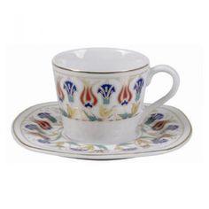 Porselen Karanfilli Kare Kahve Takımı 6lı