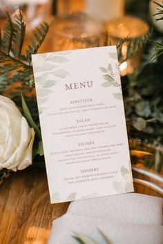 An Intertwined Event: Enchanted Indoor Wedding at Montage: Wedding Menu, Dinner Menu, Wedding Stationary