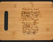 Recipe scanned from Mom's or Grandma's handwriting - Bamboo Cutting Board with Laser Engraved Recipe - Personalized  13 x 9.5. $30.00, via Etsy.