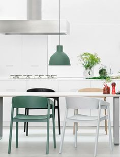 Invite cool whites and greens into your home this Spring! Get the look with the Muuto Cover Chair and Unfold Pendant http://www.nest.co.uk/browse/brand/muuto