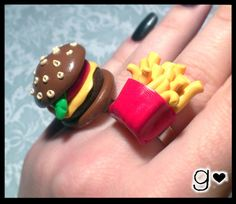 Burger & Fries Polymer Clay Ring by GabriellesCreations on Etsy
