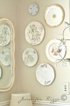 DIY spring-inspired plate wall with plate hangers. Decor, Spring Inspiration, Decor Crafts, Spring Decor, Plates On Wall, Plates, Vintage Wall Decor, Inspiration, Plate Decor