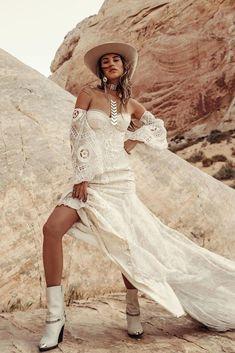24 Cowgirl Boots Wedding Ideas For Country Celebration ❤ cowgirl boots wedding ideas sweetheart neckline with sleeves lace boho ruedeseine #weddingforward #wedding #bride #weddingoutfit #bridaloutfit #weddinggown