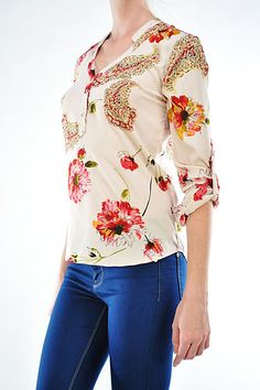 Watercolor Poppy and Intricate Paisley Silk Boyfriend Cut Shirt with Pearlescent Buttons and Roll Up Sleeves.